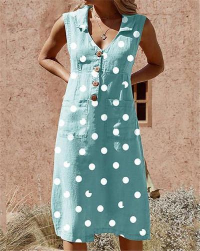 Plus Size Elegant Buttoned Down Polka Dot Pockets Dress