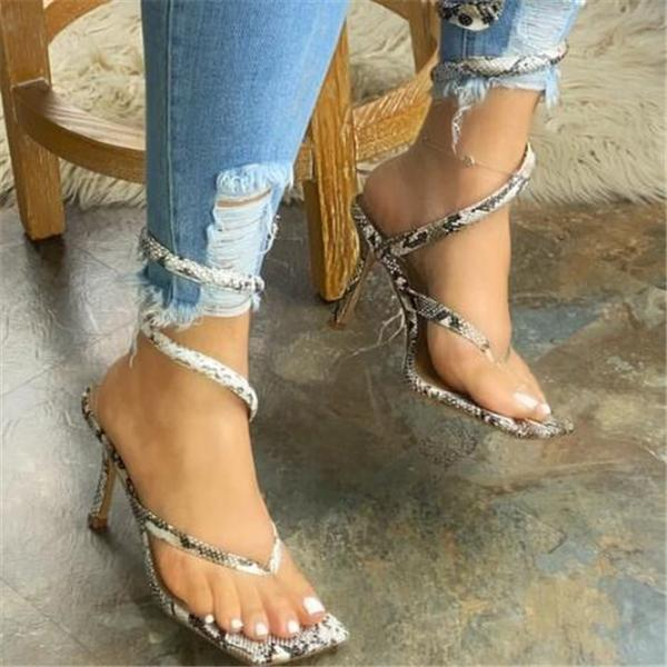 Thong Strap Spiral Slip-On Sandal Heels