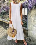 Linen Plain Crew Neck Casual Maxi Dresses