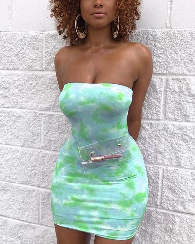 Tie Dye Print Tube Bodycon Dress