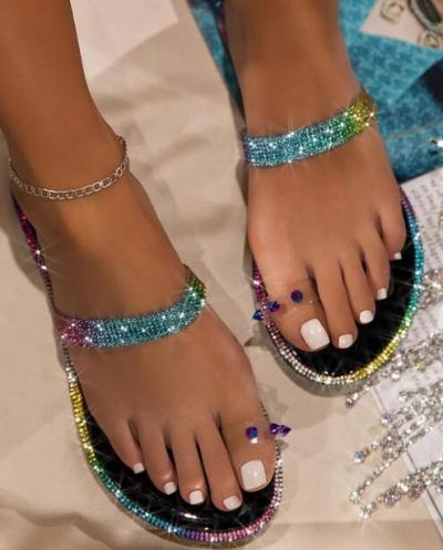 Toe Strap Embellished Slide Sandals