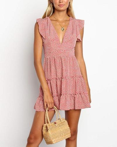 Sleeveless Pleated Dot Printing Dress Mini Dress