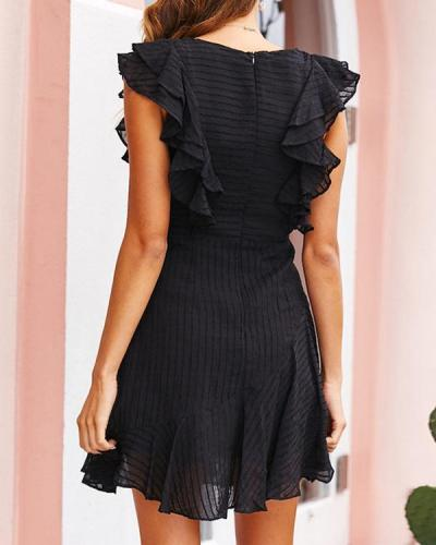 Chiffon Sleeveless A-linel Mini Dress