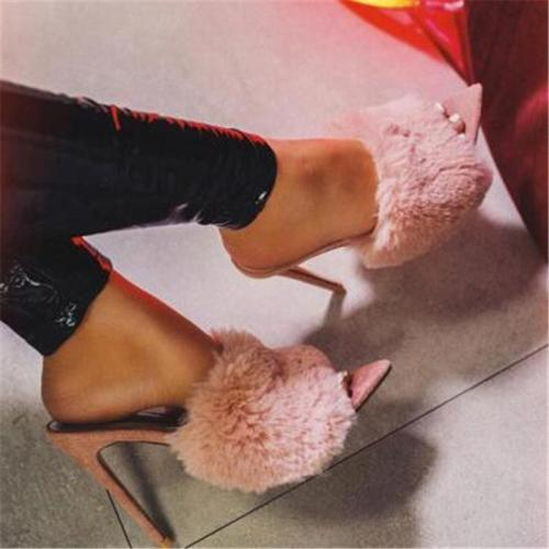 Candy Color Luxury Rabbit Fur High Heel Sandals Party Shoes