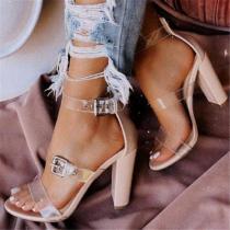 Three-Line Buckle High Heels
