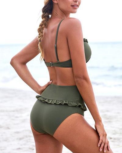 Ruffle-Trim High-Waist Bikini Set