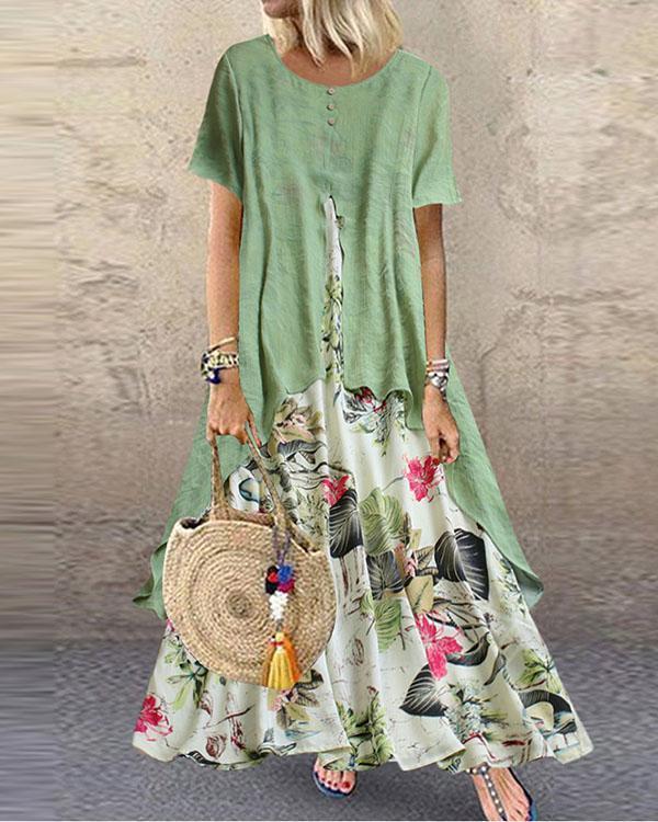 Vintage Print Patchwork Summer Plus Size Maxi Dress With Pockets