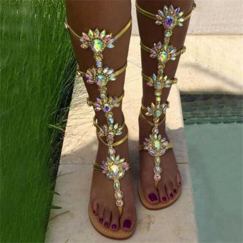 Woman Bohemia Sandal Rhinestone Knee High Summer Boots
