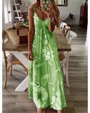 Women Sling Printed Casual V Neck Sleeveless Maxi Dresses