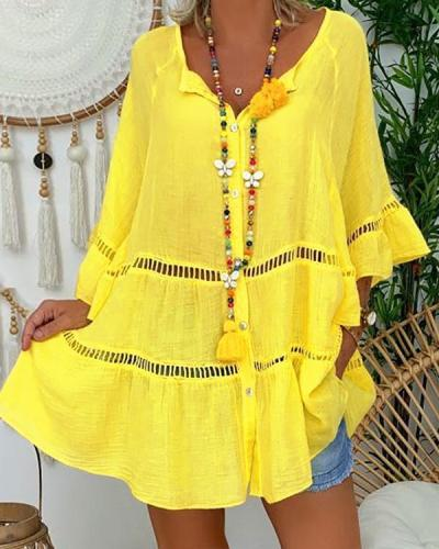 Casual Boho Plus Size Holiday Bell Sleeve Dresses