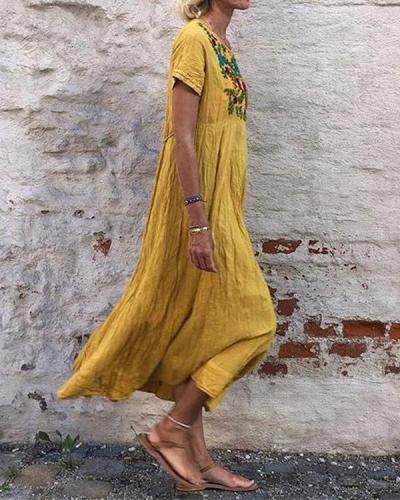 Bohemian Embroidery Casual Maxi Dress