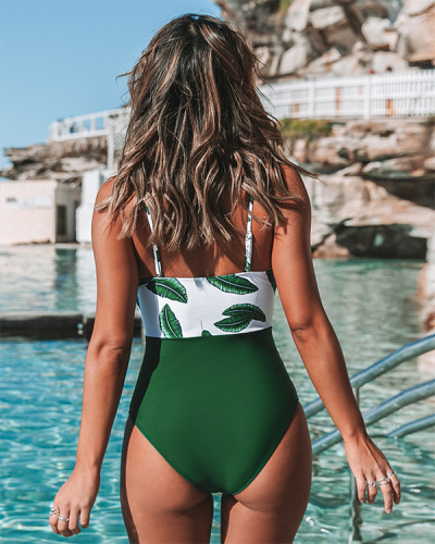 Leaf Twist-Front One Piece Swimsuit