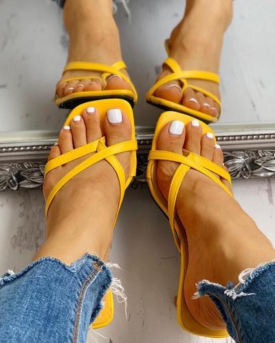Toe Post Multi-strap Slingback Thin Heeled Slipper Sandals