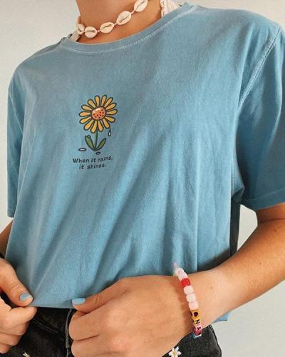 Women's Fashion Floral Print Short Sleeve T-Shirt