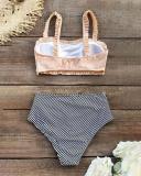 Ruffled Bandeau Bikini With High Waist Bottom