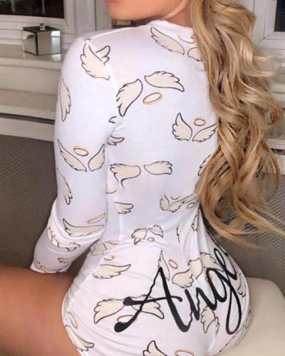 Women Angel Print Slim Fit Romper