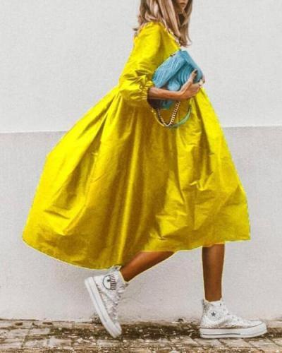 Casual Loose Plain Midi Dress