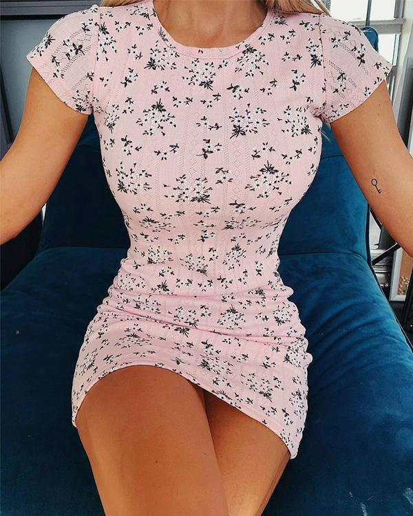 Candy Floss Floral Mini Bodycon Dress