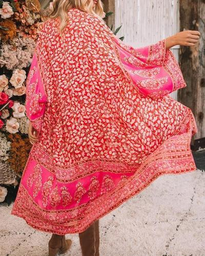 Women's Red Floral Print Holiday Sexy Chiffon Cardigan