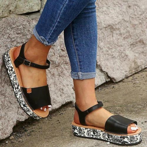 Women Women Braided Animal Pattern Buckle Strap Sandals