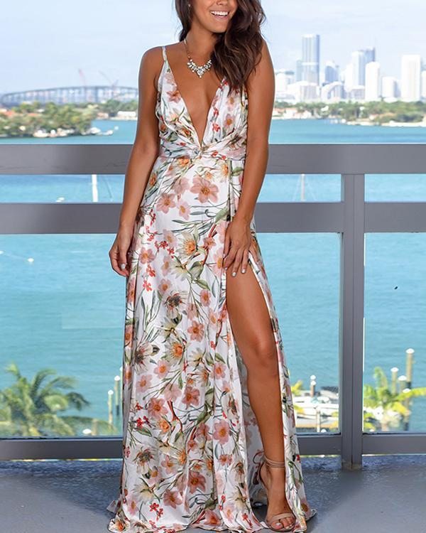 Fashion Strap Floral Print  Beach Maxi Dress