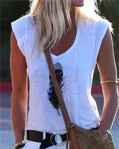Paneled V-neck Feather Print Sleeveless Casual T-shirt