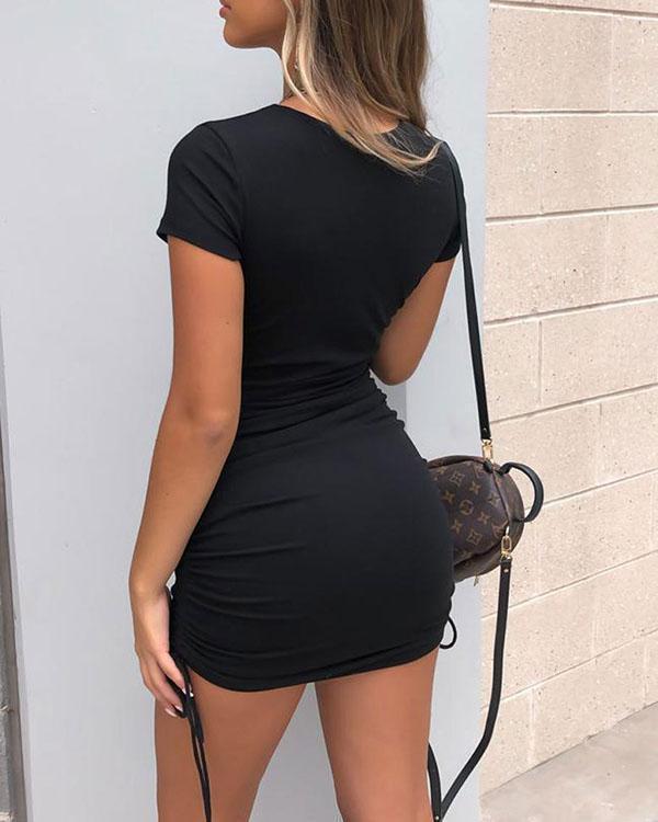 Sexy Solid Color Drawstring Short Sleeve Stretch Slim Dress