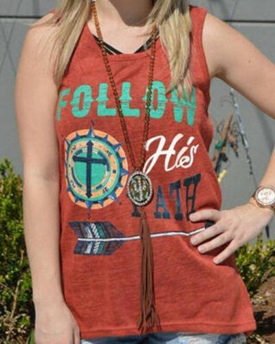 Graphic Print Sleeveless Casual Crew Neck T-shirt