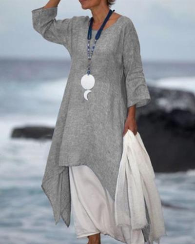 New Solid Color Linen Dress Loose Long-Sleeved Cotton Dress