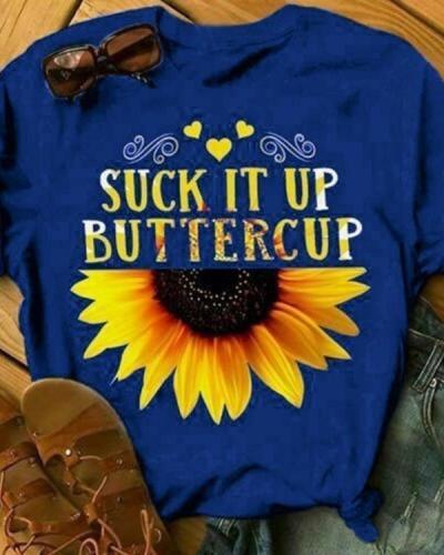 Sunflower Women's T Shirt Summer Letter Print Short Sleeve Loose Tops Blouse