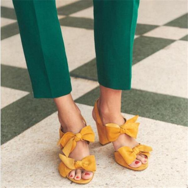 Summer Bow-knot Heel Sandals