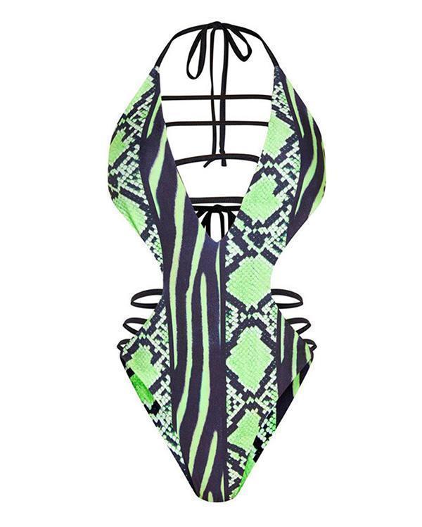 S-5XL Plus Size Snakeskin Print One Piece Swimsuit
