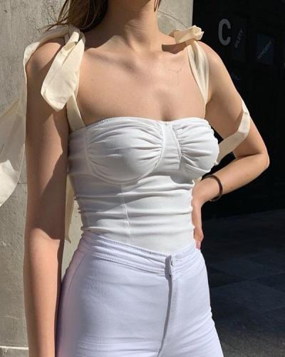 Sexy Lace Up Strap Short Blouse Vest Tops