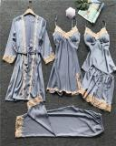 Satin Lace Trim 5PCS Sleepwear Sets