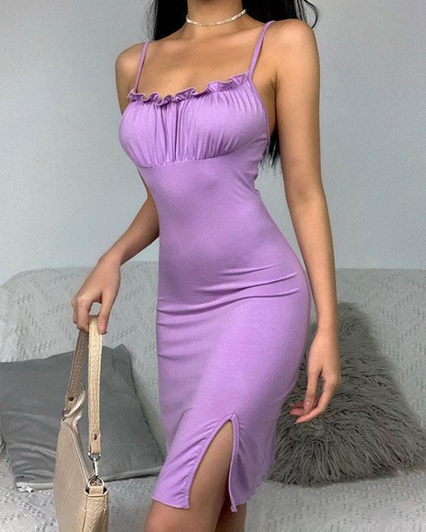 Solid Color Spaghetti Strap Bodycon Dress