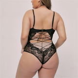 SEXY PLUS SIZE BLACK EYELASH LACE BODYSUIT TEDDY