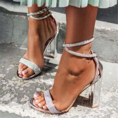 Open Toe Buckle Chunky Heel Heel Covering Rhinestone Plain Sandals