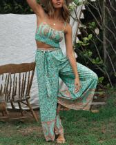 Bohemian Print Knotted Trouser Suit