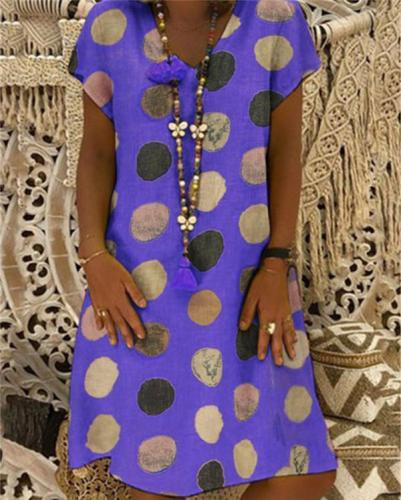 V Neck Summer Polka Dots Boho Holiday Chic Dresses