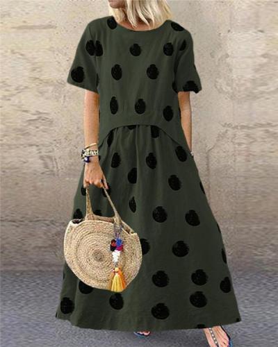Casual Polka Dot Print Short Sleeve Plus Size Dress