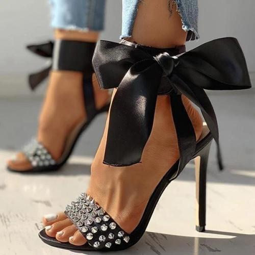 Studded Bowknot Design Thin Heels