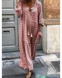 Women Shift Boho Floral Maxi Dresses Long Sleeve V Neck Dresses
