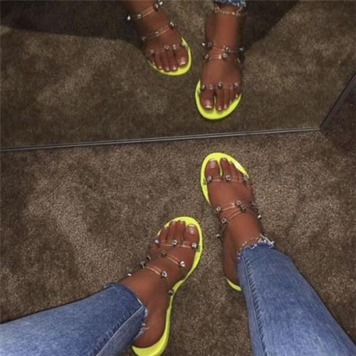 Studded Women Summer Fashion Transparent Slippers