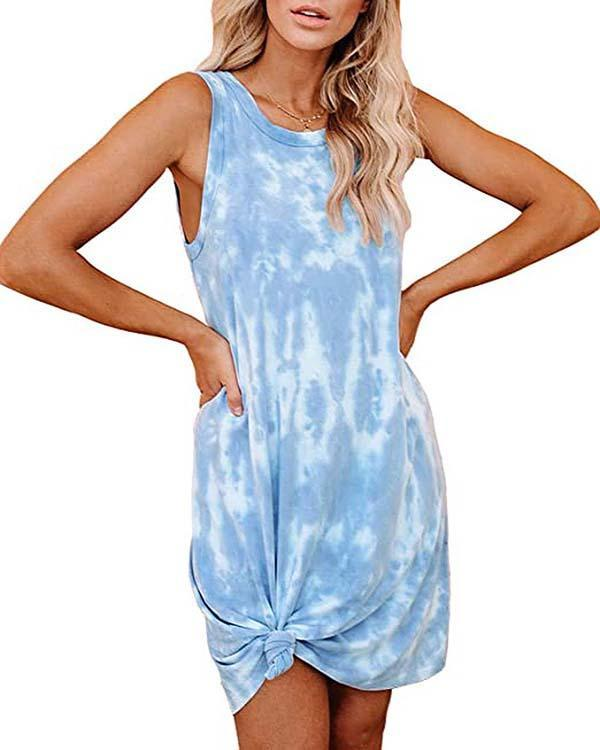 Women's Tie Dye Printed Loose Vest Dress