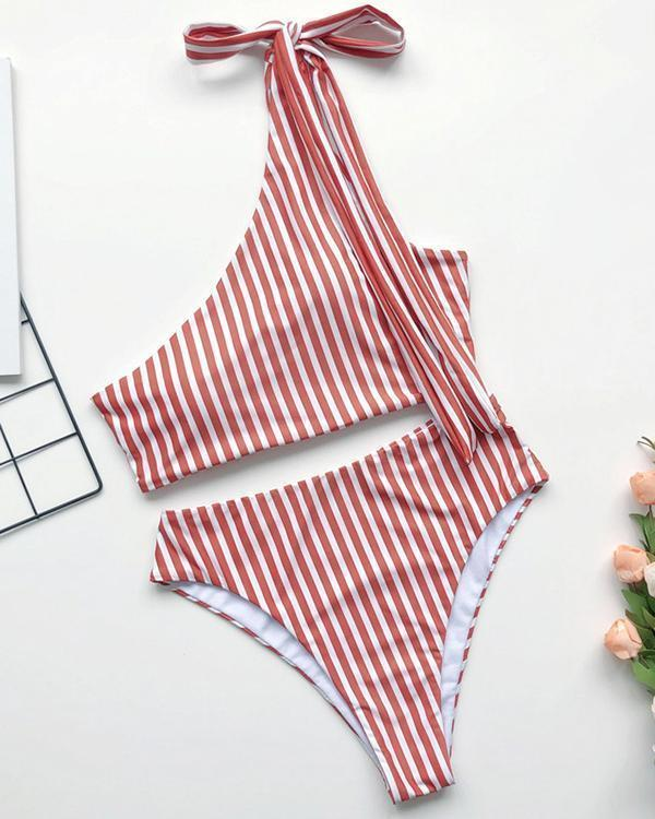 One-Shoulder Hollow One-Piece Swimwear
