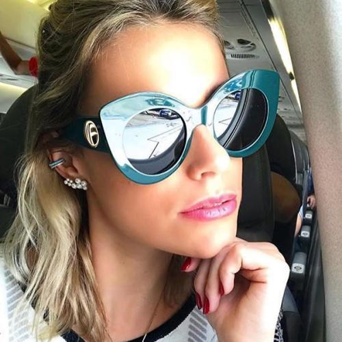 Retro Thick Frame Cat Eye Sunglasses