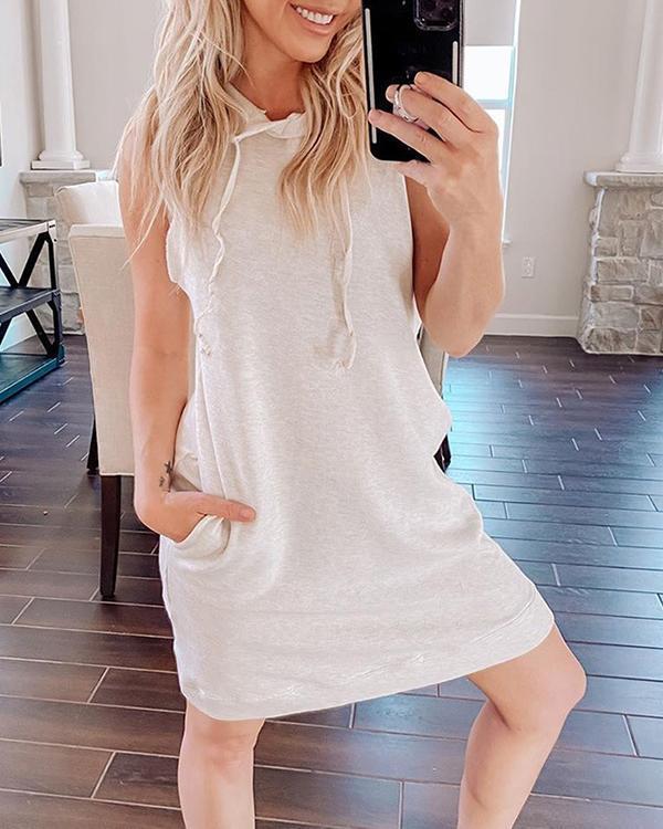 Solid Hooded Sweatshirt Mini Dress