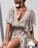 Sexy Elastic Waist Deep V-neck Ruffled Beach Dress