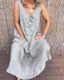 Lace-Up Sleeveless Solid Color Maxi Dress