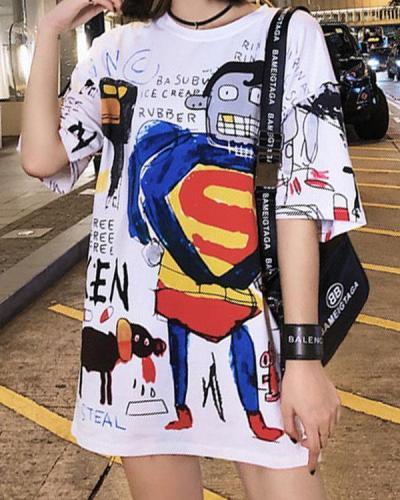Street Fashion Graffiti Loose-fit T-Shirt